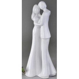 Skulptur Paar in weiß, stehend, 47 cm
