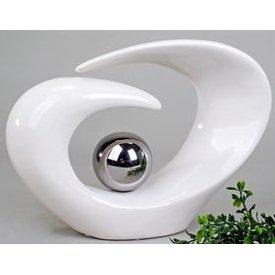 Moderne Dekorations Skulptur mit Silberne Kugel in weiß, 29 cm