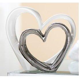 Wunderschönes Dekoherz Skulptur Liebe weiß silber, 26x24 cm
