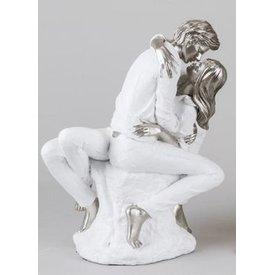 Skulptur küssendes Paar, weiß silber, 26 cm