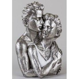 Skulptur Büste Paar, silber, 38 cm