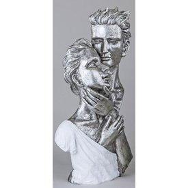 Skulptur Büste Paar, weiß silber, 40 cm