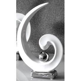 Skulptur Royal weiß silber, 36x24x6,5 cm