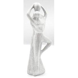 Skulptur Romanze silber mit Struktur, 30x10x6 cm