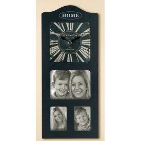 Nostalgische Wanduhr mit Fotorahmen, schwarz, 21x50 cm