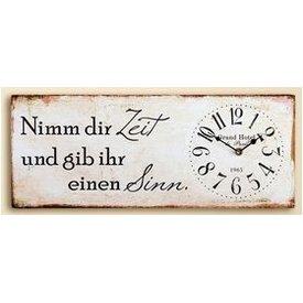 Nostalgische Wanduhr mit Spruch, creme, 20x50 cm