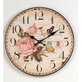 Nostalgische Wanduhr rund 34cm mit dem Aufdruck einer Rose und eines Schmetterlings