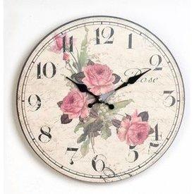 Nostalgische Wanduhr rund 34 cm mit dem Aufdruck dreier Rosen