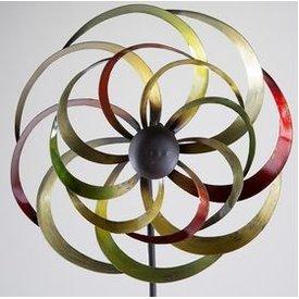 Windrad aus Metall in bunten Farben mit Stange, 32/140 cm