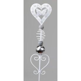 Gartenstecker aus Metall, Motiv Herz mit Schmetterling, 100 cm