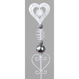 Gartenstecker aus Metall, Motiv Herz mit Blume, 100 cm
