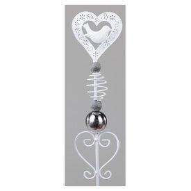Gartenstecker aus Metall, Motiv Herz mit Vogel, 100 cm