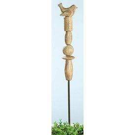 Nostalgischer Gartenstecker Vogel aus Mangoholz, 15/150 cm