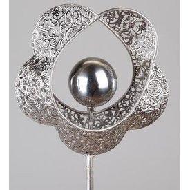 Gartenstecker aus Metall, Motiv Herz mit Blume, 120 cm