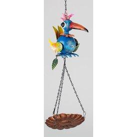 Vogeltränke Papagai in blau aus sunshine Metall, 48 cm