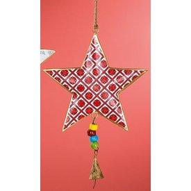 Nostalgische Hängedeko Stern rot aus Metall, 23x16x2 cm