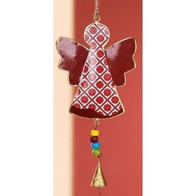 Nostalgische Hängedeko Engel rot aus Metall, 26x12,5x2 cm