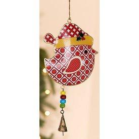 Nostalgische Hängedeko Weihnachtlicher Vogel rot aus Metall, 26x15x2 cm
