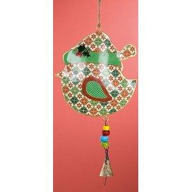 Nostalgische Hängedeko Weihnachtlicher Vogel grün rot aus Metall, 26x15x2 cm