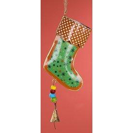 Nostalgische Hängedeko Nikolausstiefel grün aus Metall, 25x11x4 cm