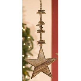 Dekohänger Stern aus Naturholz 2x15x45 cm