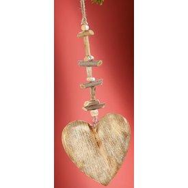 Dekohänger Herz aus Naturholz, weiß gewischt, 2x16x49 cm