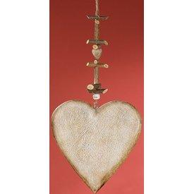 Dekohänger Herz aus Naturholz, weiß gewischt, 2x20x55 cm