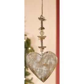 Dekohänger Herz aus Naturholz, weiß gewischt, 2x24,5x60 cm
