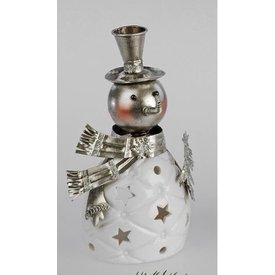 Windlicht Lustiger Schneemann, Keramik, weiß silber, 19 cm