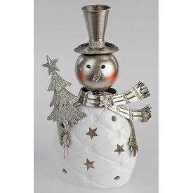 Windlicht Lustiger Schneemann, Keramik, weiß silber, 26 cm