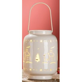 Windlicht Häuschen aus Porzellan mit LED Beleuchtung, 9x9x13 cm