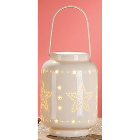 Windlicht Stern aus Porzellan mit LED Beleuchtung, 9x9x13 cm
