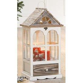 Laterne im Rundbogen Landhausstil mit Giebelfensterdach, 26x23x52 cm