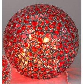 Mosaikglas Kugellampe Bordeaux mit LED 15 cm