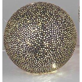 Mosaikglas Kugellampe Stern schwarz mit LED 15 cm