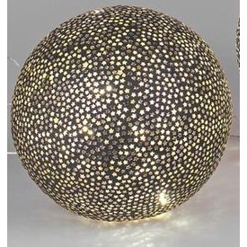 Mosaikglas Kugellampe Stern schwarz mit LED 20 cm