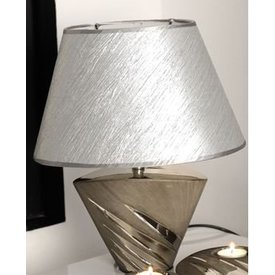 Edle Dekorations Lampe aus matt grau silberner Keramik, 35 cm