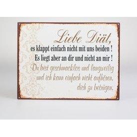 """Lafinesse Nostalgisches Blechschild als Wandbild mit Aufschrift """"Diät..."""", 26x35 cm"""