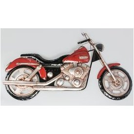 Nostalgische Wanddeko Wandmotorrad aus Metall, rot, 95x54 cm