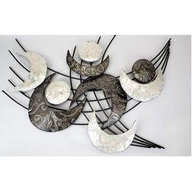 Extravagante Wanddeko im Retrostyle mit Muscheldekor, weiß, 78x60 cm
