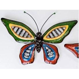 Trendige Wanddeko Schmetterling Wave Metall, mit großen grünen Flügeln 46 cm