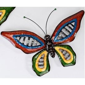 Trendige Wanddeko Schmetterling Wave Metall, mit großen roten Flügeln 46 cm
