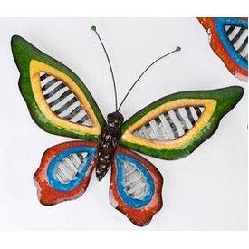 Trendige Wanddeko Schmetterling Wave Metall, mit großen grünen Flügeln 60 cm