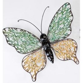 Trendige Wanddeko Schmetterling Swing Metall, mit kleinen gelben Flügeln 40 cm