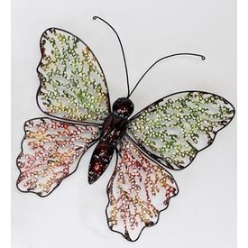 Trendige Wanddeko Schmetterling Swing Metall, mit kleinen roten Flügeln 40 cm