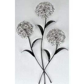 Extravagante Wanddeko Blumenzweig, silbern, 74 cm hoch
