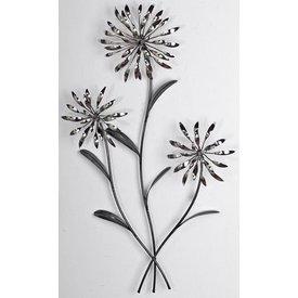 Wanddeko Blume, silbern, 74 cm hoch