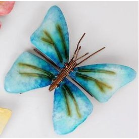 Wanddeko Schmetterling Aura Metall 16 cm blau