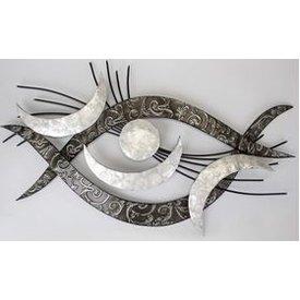 Extravagante Wanddeko im Retro Augenstyle  mit Muscheldekor, silber 94x48 cm,
