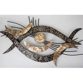 Extravagante Wanddeko im Retro Augenstyle  mit Muscheldekor, gold 94x48 cm,